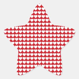 White Hearts on Lipstick Red Star Sticker
