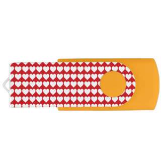 White Hearts on Lipstick Red Swivel USB 2.0 Flash Drive