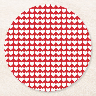 White Hearts on Lipstick Red Round Paper Coaster