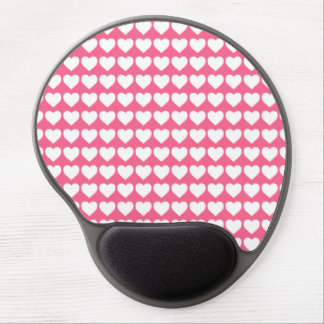 White Hearts on Midi Pink Gel Mouse Pads