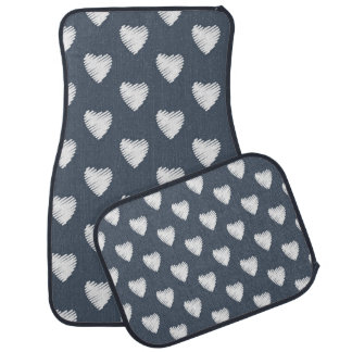 White Hearts on Navy Blue Car Mats