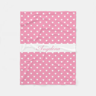 White Hearts on Pink Personalized Fleece Blanket