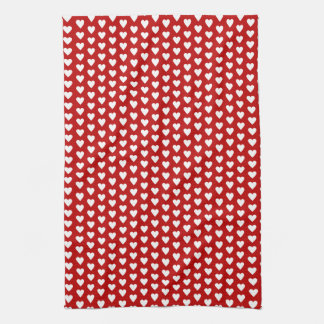 White Hearts On Red Background Dish Towel