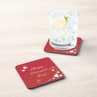 White Hearts on Red Coaster