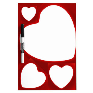 White Hearts on Red Dry Erase Board