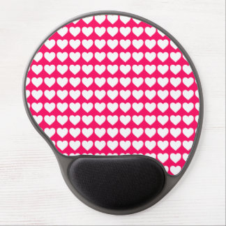 White Hearts on Rose Pink Gel Mouse Mats