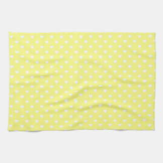 White Hearts on Yellow Hand Towels