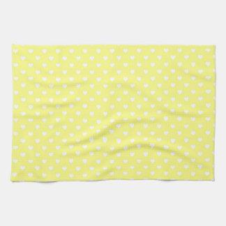 White Hearts on Yellow Kitchen Towel