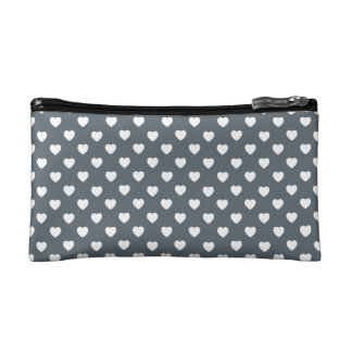 White Hearts Polka Dot Pattern Cosmetic Bag