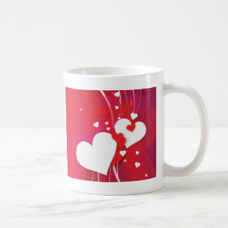 White Hearts Red Whimsy Coffee Mugs