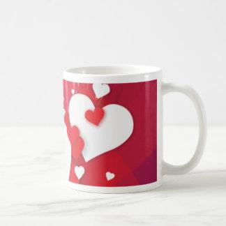 White Hearts Red Whimsy Coffee Mug