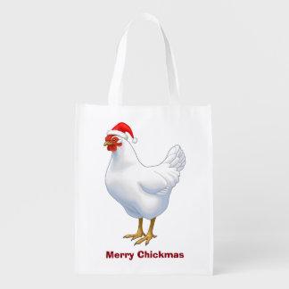 White Hen in Santa Hat Merry Chickmas