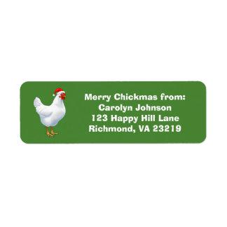 White Hen in Santa Hat Merry Chickmas Return Address Label