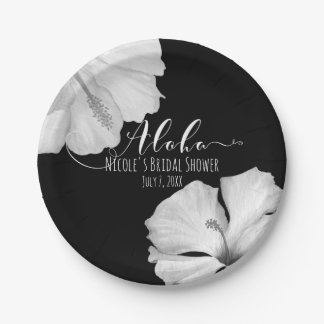 White Hibiscus Black Tropical Wedding Aloha Paper Plate