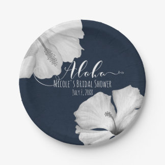 White Hibiscus Blue Tropical Wedding Aloha Paper Plate