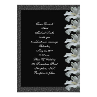 White Hibiscus Flower Black Wedding Invite