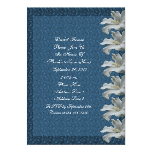 White Hibiscus Flower Blue Bridal Shower Invite