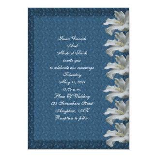 White Hibiscus Flower Blue Wedding Invite
