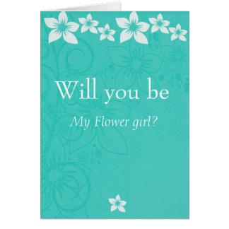 White hibiscus flower, flower girl announcement
