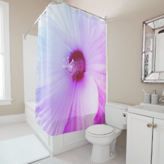 White Hibiscus Flower Shower Curtain