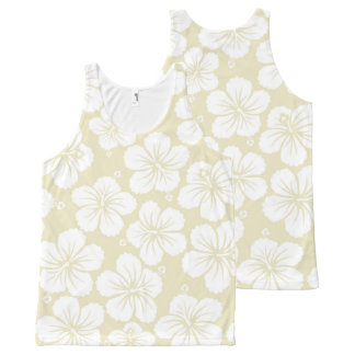 White Hibiscus Flowers All-Over Print Singlet