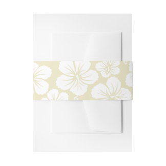 White Hibiscus Flowers Invitation Belly Band