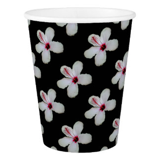 White Hibiscus Isolated on Black Background Paper Cup