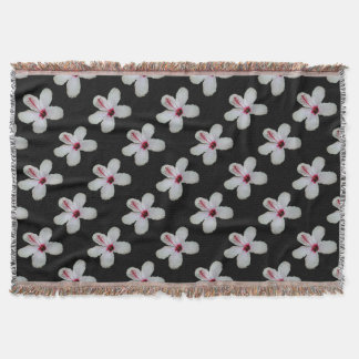 White Hibiscus Isolated on Black Background Throw Blanket