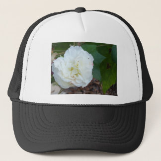 white hibiscus mutabilis flower trucker hat