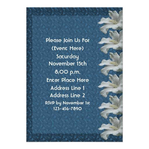 White Hibiscus On Blue Floral Invitation