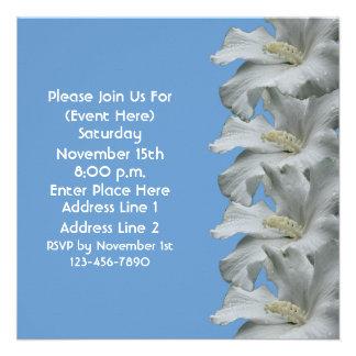 White Hibiscus On Blue Floral Square Invite
