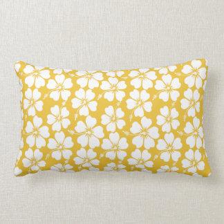 White Hibiscus Pattern on Saffron Lumbar Cushion