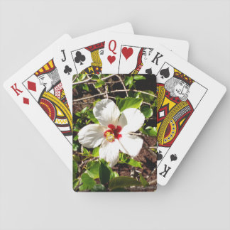 White Hibiscus Playing Cards