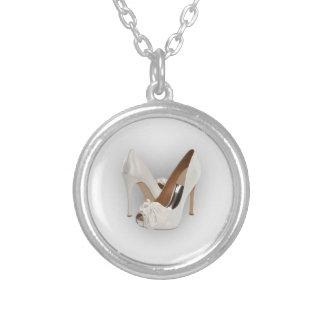 White High Heels Round Pendant Necklace