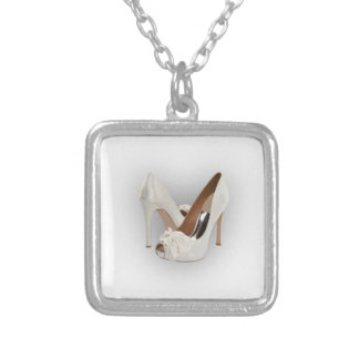 White High Heels Silver Plated Necklace