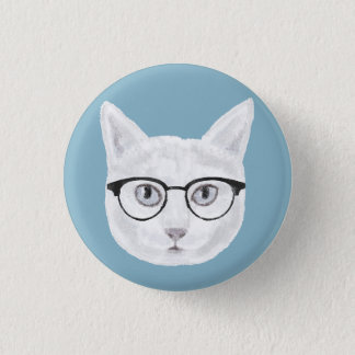 White Hipster Cat Wearing Glasses 3 Cm Round Badge