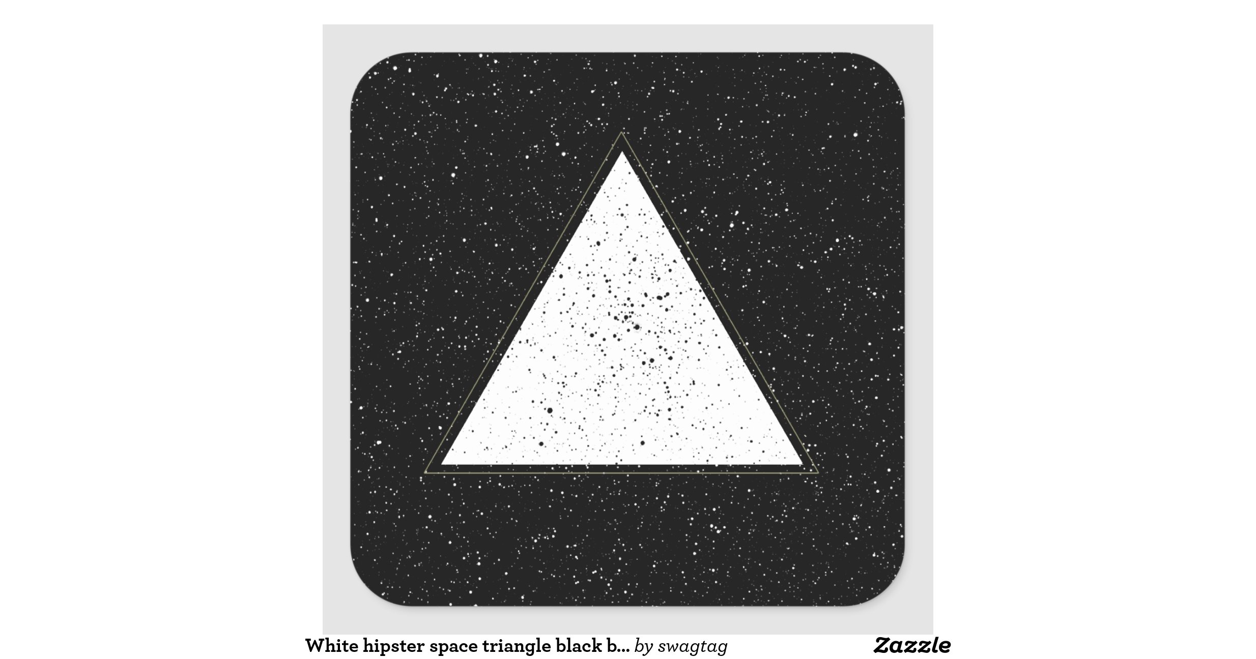 White hipster space triangle black background square ...