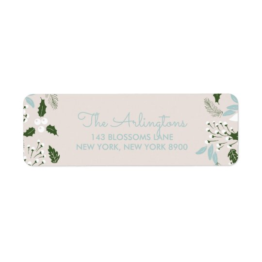 White Holly Botanical Happy Holidays Address Label