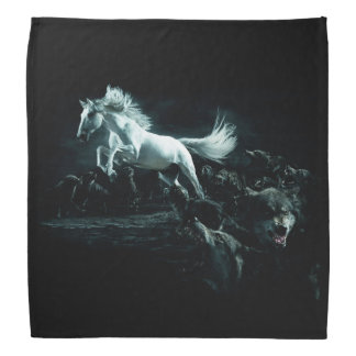 White Horse and The Attack of Wild Wolves Bandana