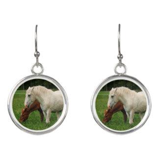 White Horse Animal Earrings