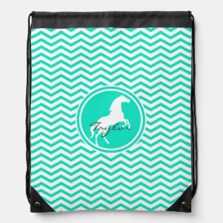 White Horse; Aqua Green Chevron Drawstring Bag