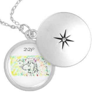 White horse art locket necklace