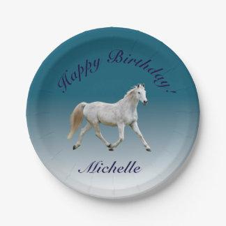 White Horse Birthday Plates