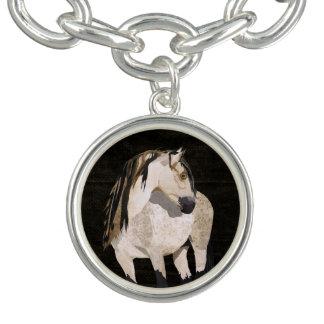 White Horse Black Charm Bracelet