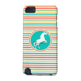 White Horse; Bright Rainbow Stripes iPod Touch 5G Cases