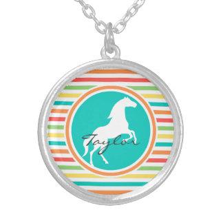 White Horse Bright Rainbow Stripes Necklaces