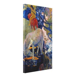 White Horse by Gauguin, Vintage Impressionism Art Canvas Print
