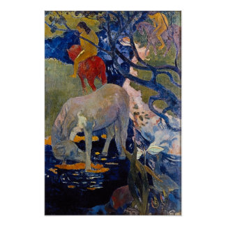 White Horse by Gauguin, Vintage Impressionism Art Poster