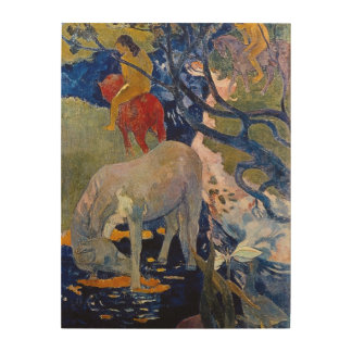White Horse by Gauguin, Vintage Impressionism Art Wood Canvases