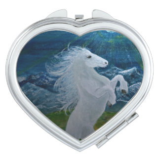 White Horse Compact Heart Mirror